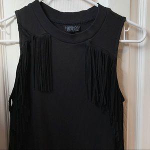 Topshop Sleeveless Fringe Dress   Size 4